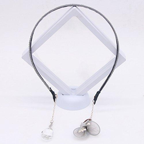 Handgemaakte Kant Bloemen Haarband Holle Doek Check Kristal Haar Ornament Omzoomde Oorbellen Haarband Accessoires voor Vrouwen, grijs