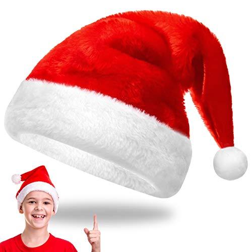 EKKONG Nikolausmütze Xmas mütze Weihnachtsmütze Santa Plüsch Rand mütze Für Neujahr Festliche Weihnachtsfeier Erwachsene Kinder Teenager