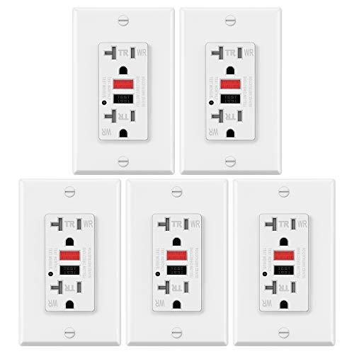 ELECTECK 20A WR GFCI Steckdose, TR-Empfänger mit LED-Anzeige, wetter- und manipulationsbeständig, Dekorator-Wandplatte inklusive, Wohn- und Gewerbe-zertifiziert, weiß, 5 Stück