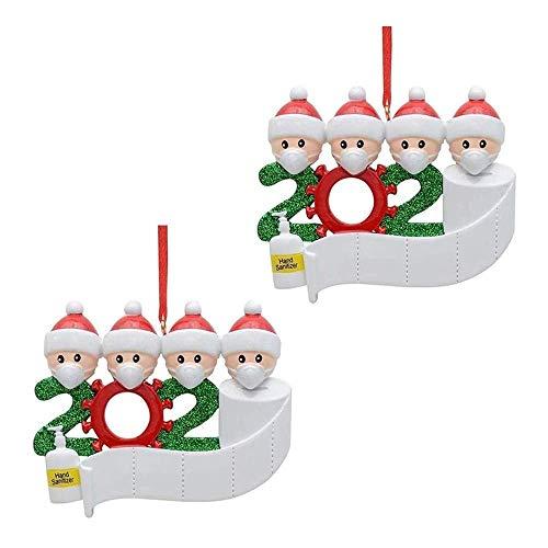 Wondsea 2Pcs Kit di Quarantena Personalizzato, Nome Famiglia 2020 Ornamento di Natale Regalo (Quattro Persone)
