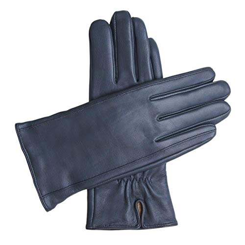 Downholme Classic Leather Cashmere Lined Gloves for Women (Dark Blue, M)