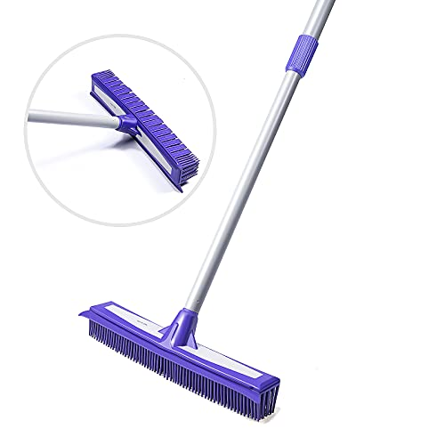 CLEBROOM Soft Rubber Push Broom-Extendable Telescopic Long Handle Bristles Squeegee Broom Bristle Sweeper Removal Pet Dog Hair for Cleaning Hardwood Carpet Tile Windows Clean Water Resistant (Blue)