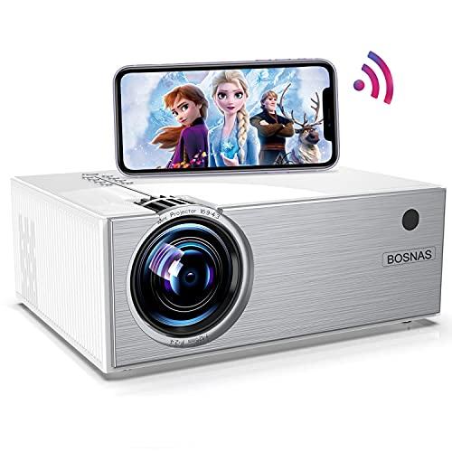 Proyector WiFi, BOSNAS Mini Proyector Portátil Native 720P 5500 Lux, Soporte Full HD 1080P, Zoom X/Y, LED Proyector de Cine en Casa para TV Stick HDMI PS4 Laptop Smartphone