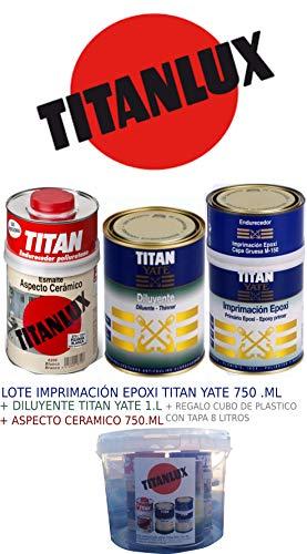 LOTE IMPRIMACION EPOXI TITAN YATE 750ML + DILUYENTE TITAN YATE 1L + ASPECTO CERAMICO BLANCO SATINADO 750ML + REGALO CUBO PLASTICO 8 LITROS