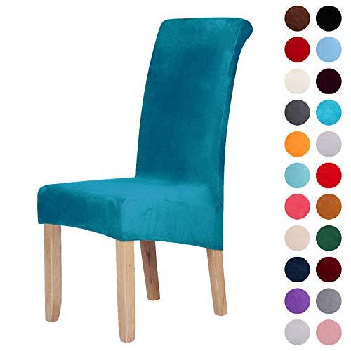 Stuhlhussen aus Samt, Stretch, Elastan, Plüsch, kurz, einfarbig, für große Esszimmerstühle, Stuhlschutz, Heimdekoration, Samt, blau - peacock blue, Set of 6 (Large)