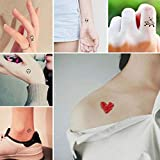 Everjoy Tiny Cute Temporary Tattoos - 30 Pcs, Waterproof Words, Lines, Flowers, Artworks, Figures, Hearts, Patterns for Kids, Adults, Women and Men