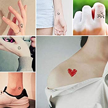 Everjoy Tiny Cute Temporary Tattoos - 30 Pcs Waterproof Words Lines Flowers Artworks Figures Hearts Patterns for Kids Adults Women and Men