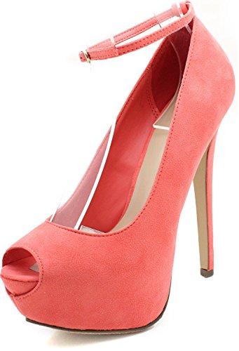 Breckelle's JUDY-21 High Heel Stiletto Platform Peep Toe Anke Strap Party Pump,Judy-21 Black 11
