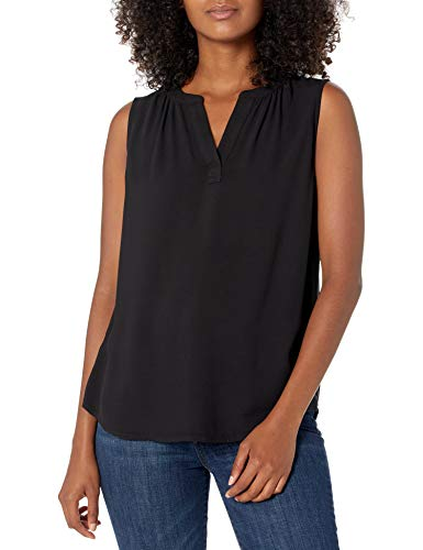 Amazon Essentials Sleeveless Woven Shirt Hemd, Schwarz, M