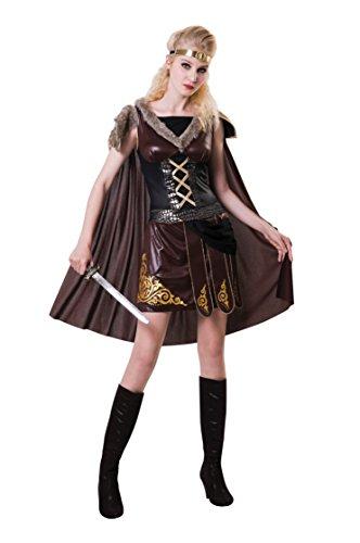 Bristol Novelty AF073 Medieval Warrior Lady, Mujeres, Marrón, Talla Única