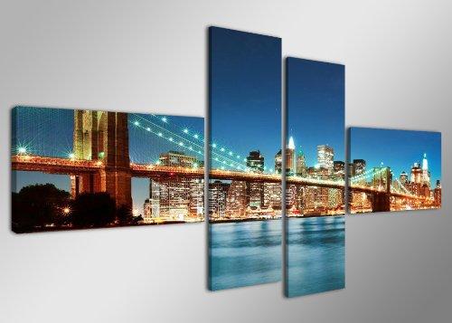Quadro su tela New York 160 x 70 cm 4 tele modello nr XXL 6525. I quadri sono montati su telai di vero legno. Stampa artistica intelaiata e pronta da appendere
