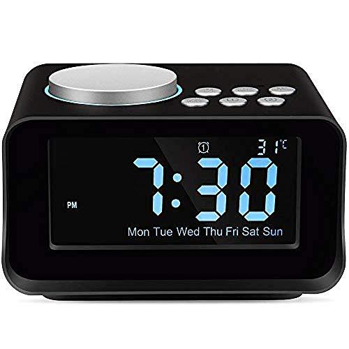 FPRW Digitale wekkerradio met bluetooth-luidspreker, sluimerklok met dimbaar LCD-display, met FM-radio en USB-oplaadfunctie