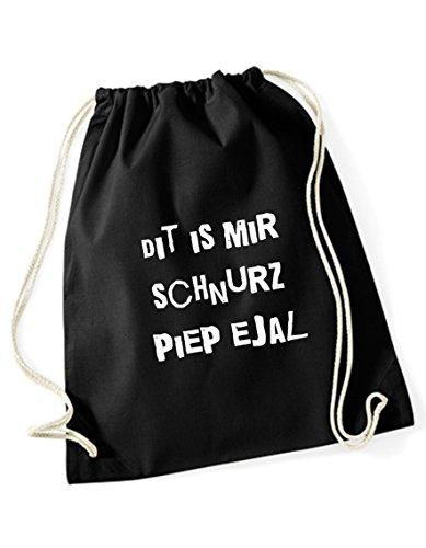 Turnbeutel schwarz bedruckt mit Berliner Sprüchen - Schnurz piep ejal - Rucksack / Sportbeutel / Sprüche Gymsack vom Label SPREE Klamotte - Berliner Schnauze