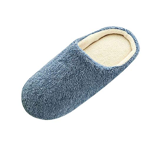 LOVELYOU ❤️Hommes Chaussons Peluche, Fond Plat Confortable Chaud Slippers Home Accueil Chaussure Automne Hiver Anti Slip Indoors (44 45, Marine)