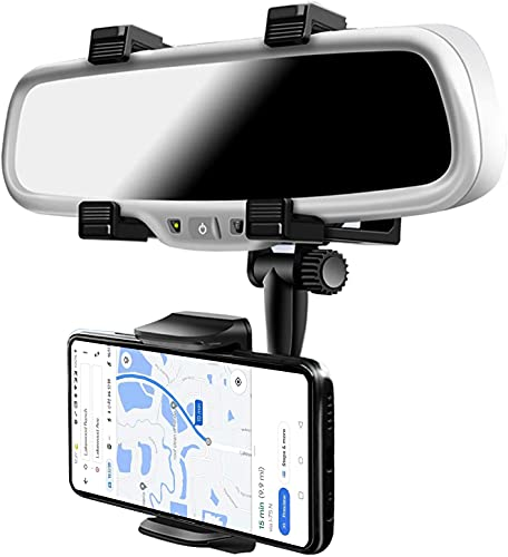 GIRIK® Car Rearview Mirror Phone Holder- Car Phone Mount- Phone Bracket, Phone Stand with 270° Swivel and Adjustable Clips, Universal Smartphone Cradle (Black)