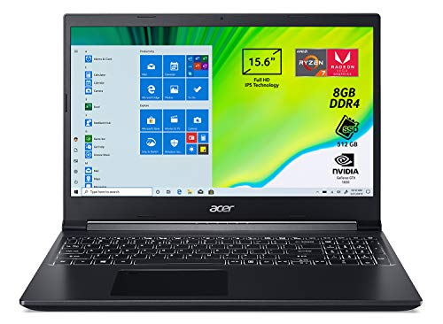 Acer Aspire 7 A715-41G-R3WV Notebook con Processore AMD Ryzen 7 3750H, RAM da 8 GB DDR4, 512 GB PCIe NVMe SSD, Display 15.6' FHD IPS LED LCD, NVIDIA GeForce GTX 1650 4 GB GDDR6, Windows 10 Home, Nero
