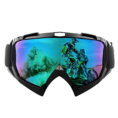 shirylzee Motocross Goggles Motorcycle Goggles TPU Resin Windproof UV Protection Dirt Bike Goggles Snowboard Ski Eyewear Off Road Goggles over Glasses for Man Woman Youth - Colorful Lens