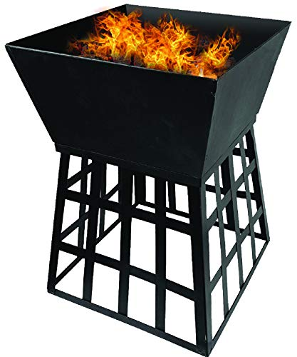 Fineway. Stunning Black Square Fire Pit Log Burner Heater - Comes With BBQ Grill Rack - For Garden Camping BBQ Picnics Holiday Festivals Beach Patio