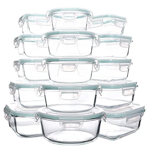 Luvan Boite Alimentaire en Verre,15 Packs de conteneurs de préparation de Repas en Verre, Récipient En Verre, sans BPA ou étanches (15 couvercles et 15 conteneurs), Bleu