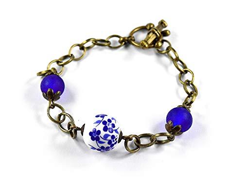 zimt & silber I SCHMUCKMANUFAKTUR, Schmuck Damen, Armband/Bettelarmband, antik gold/bronze/weiß/blau, VINTAGE, handbemalte Porzellan Perle, Modeschmuck