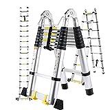 Escalera Telescópica de 3.8M/5M, Escalera Plegable, Escalera Telescópica de Aluminio Plegable con Estabilizador y 2 Ruedas, Capacidad de Carga 150 Kg