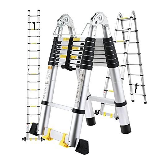 Échelle Télescopique 5 m, Escabeau Telescopique Pliant en Aluminium avec Stabilisateur et 2 Roues, Échelle Pliable, Charge Capacité...