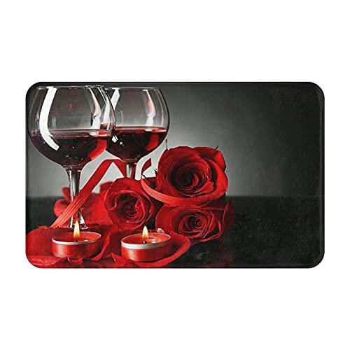 Dachangtui Alfombras de baño, decoración de la habitación, Vino Tinto en Copas, Rosa roja y corazón Decorativo sobre Fondo Oscuro, Alfombrillas duraderas y Suaves con Antideslizante