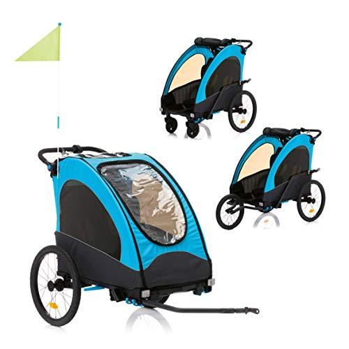 Fillikid Fahrradanhänger Rhino 3in1  Kinderanhänger als Buggy, Jogger nutzbar   Radanhänger für bis zu 2 Kinder   Multi-Sport Anhänger mit hochwertiger Federung   Babyanhänger klein faltbar