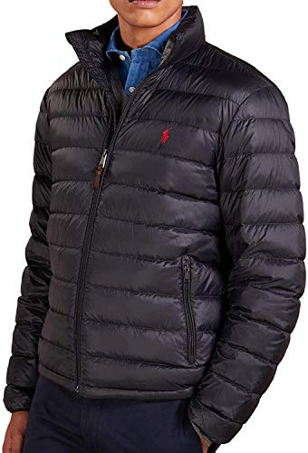 Ralph Lauren Polo Mens Pony Logo Down Puffer Jacket Black (Large)