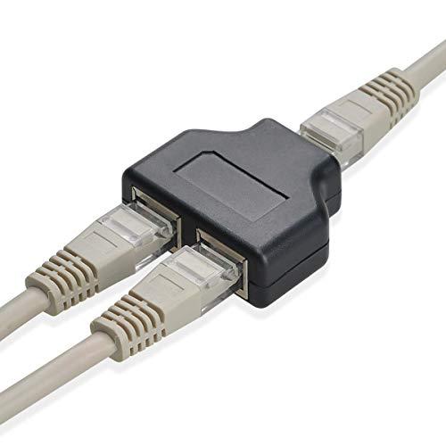 Covvy RJ45 Netzwerk-Splitter-Adapter 1 Buchse auf 2 weibliche Buchsen Port Cat 5/Cat 6 LAN Ethernet Netzwerk-Verlängerung Splitter Adapter Kabel Dual Socket – 1 Paar
