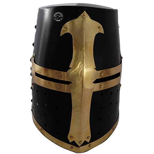 Hind Handicrafts Casco de armadura de caballero templario medieval renacentista para adultos, accesorios de guerrero, forro de piel ajustable, LARP, Halloween y dramas, latón negro