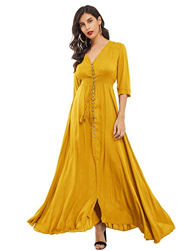Milumia Women's Button Up V Neck Half Sleeve Split Flowy Plain Party Maxi Dress Yellow Small