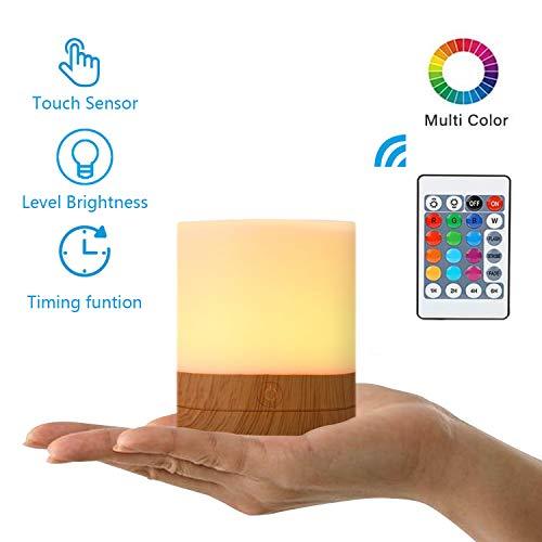 yeazol Mini Luz Nocturna de Portátil LED portátil, Lámpara de Mesita de Noche, 7 Colores,Bajo Consumo de Energía, Luz del humor Luz de noche para niños Control Remoto, Regulable, USB Recargable