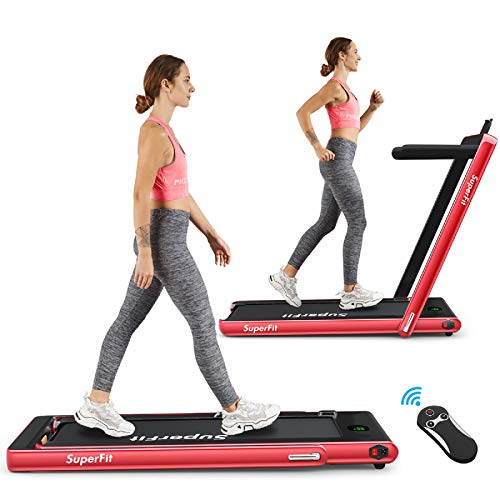 Goplus 2 in 1 Folding Treadmill, 2.25HP Under Desk Electric Treadmill, Installation-Free, with Bluetooth Speaker, Remote Control and LED Display, Walking Jogging Machine for Home/Office Use (Red)