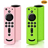 2 Pack Remote Cover for Fire TV Stick 4K, Silicone Remote case for Fire TV Cube/Fire TV(3rd Gen) Compatible with All-New 2nd Gen Alexa Voice Remote Control, Anti-Slip Shockproof (Green and Pink)