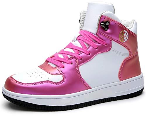 Gaatpot Damen und Herren Hohe Sneakers Skateboard Schuhe Leder Schnür Turnschuhe Freizeit Running Sportschuhe Outdoor Laufschuhe Weiß Pink 39
