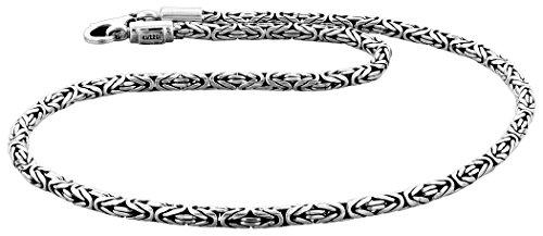 Kuzzoi Massive 925 Sterling Silber Königskette Herren Halskette, Dicke 4mm, Länge 50 cm, mit Schmuckbox - 345052-050