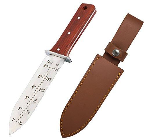 ProtectorTech Digger – rostfreies Messer-Handschaufel für Metalldetektor und Umgraben in Gartenarbeit (mit Rot-Holz-Griff und brauner Ledertasche)