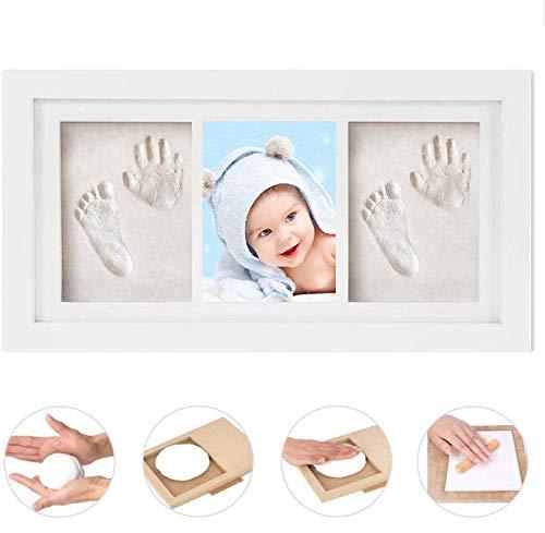 GSSUCCESS bebé Handprint y Marco de huella Inkpad de fotos Regalos Babyparty seguros y elegantes Elegante blanco de madera sólida para recién nacidos/bebé Regalos Blanco no tóxico
