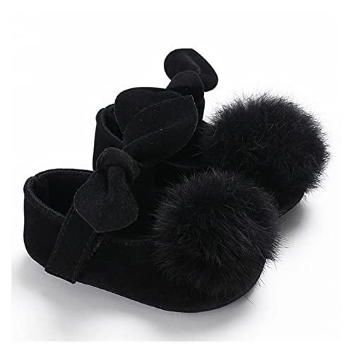FURONGWANG6777BB Zapatos de bebé para cunas, diseño de princesa con lazo sólido con bolas de piel, zapatos para primeros caminantes (color: negro, tamaño: 12-18 meses)