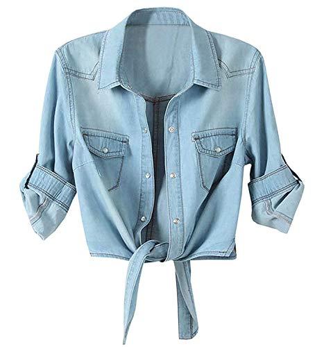 Women's Roll Up Sleeves Crop Tie Top Denim Shawl Jeans Shirt Light Blue, XX-Large=US 20-22