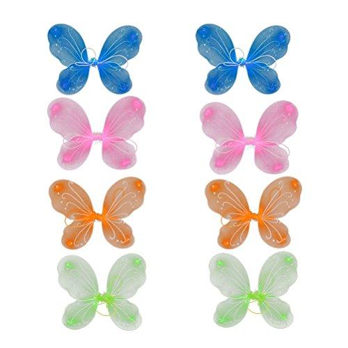 Tinksky 8Pcs Girls Butterfly Fairy Angel Wings pour Enfants Fêtes de Jardin Favores d'anniversaire Costumes d'halloween 4 Couleurs