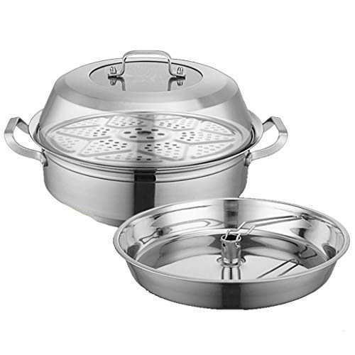 201 Stainless Steel Steam Hot Pot 34cm Steamer Soup Pot 2 Layers Seafood Steam Pot Sauna Pot Commercial Induction Cooker Household Suitable for 4-7 People