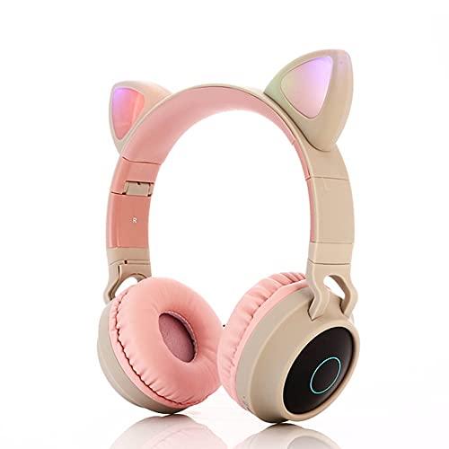 YHWD Auriculares Inalámbricos Bluetooth Oreja Gato, Auriculares Estéreo Plegables con Micrófono, Compatible con Radio FM/Tarjeta TF/Entrada Auxiliar, Teléfonos Inteligentes, Tableta,Pink Gray