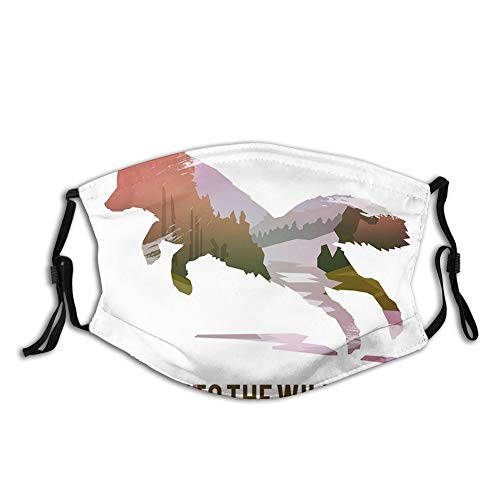Comfortable Windproof Activated carbon mask,Jumping Fox Silhouette with Woodland Wilderness Hunting,Printed Facial decorations for Unisex Adult