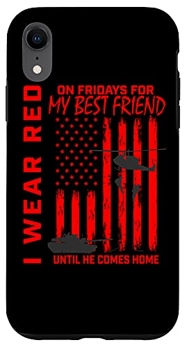 iPhone XR Red Friday Best Friend Military Remember Deployed USA Flag Case