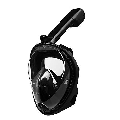 RatenKont Cara Completa Anti-Niebla Snorkel Mascarilla de Buceo Subacuático Spearfishing Mask Gafas Capacitación Máscara Black S/M