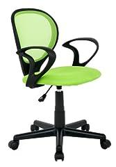 SixBros. bureaustoel, bureaustoel, draaistoel voor bureau of kinderkamer, oneindig hoogte-verstelbaar, bureaustoel voor kinderen die van stof worden gemaakt, groen, H-2408F/1408*