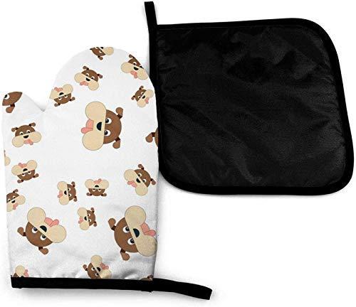 Wfispiy Beagle Perro de Dibujos Animados Lindo Divertido Labio Imprime Lindo Salchicha Boca microondas Horno Manoplas y Porta ollas Conjunto de Cubierta de Aislamiento térmico Manta Almohadilla