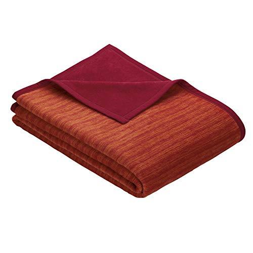 Ibena Fano Kuscheldecke 150x200 cm – Wohndecke rot orange, tolle Wendedecke aus hochwertiger Baumwollmischung, kuschelweich & angenehm warm